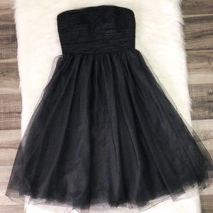 J. Crew Tulle Pleated Black Strapless Dress